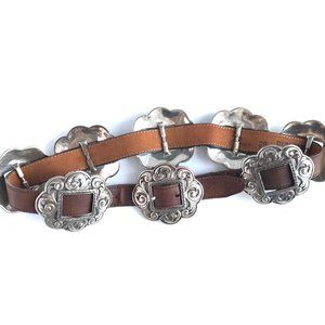 DUN DEE Brown Genuine Leather Western Concho Belt